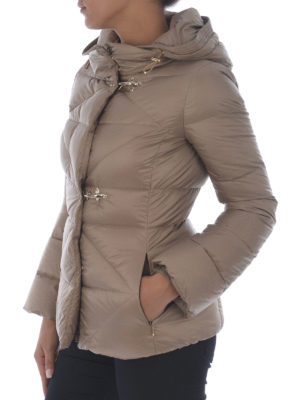 Fay: padded jackets online - Beige quilted padded hooded jacket