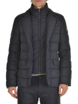 Fay: padded jackets online - Double front quilted down jacket
