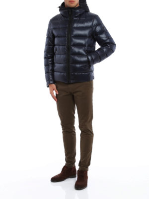 Fay: padded jackets online - Double zip hooded padded jacket