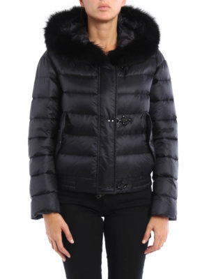 Fay: padded jackets online - Fur trimmed hooded padded bomber