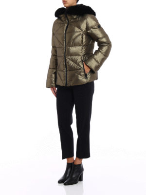 Fay: padded jackets online - Fur trimmed metallic down jacket