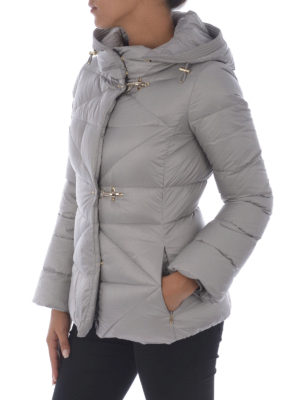 Fay: padded jackets online - Grey quilted padded hooded jacket