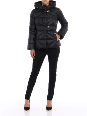 Fay: padded jackets online - Quilted padded hooded jacket
