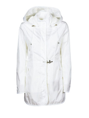 Fay: parkas - Light white nylon hooded raincoat