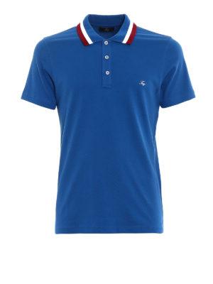 FAY: polo - Polo blu colletto a contrasto