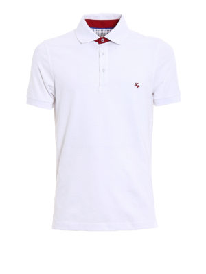 Fay: polo shirts - Contrasting logo cotton polo shirt