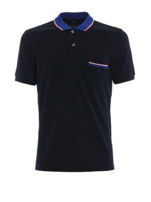 FAY: polo - Polo blu scuro con taschino