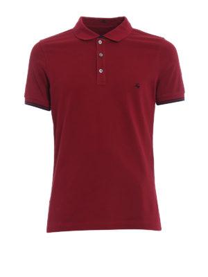 Fay: polo shirts - Double collar dark burgundy polo