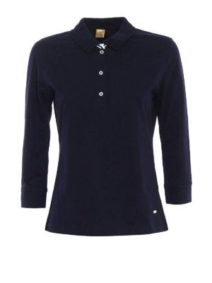 Fay: polo shirts - Elbow-sleeve blue polo shirt