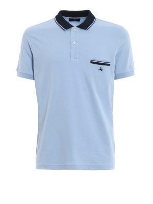 FAY: polo - Polo azzurra con taschino