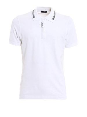 Fay: polo shirts - Logo intarsia cotton polo shirt