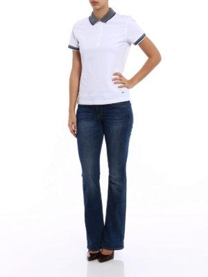 Fay: polo shirts online - Contrasting collar white polo shirt