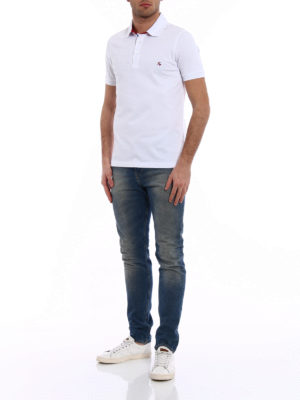 Fay: polo shirts online - Contrasting logo cotton polo shirt