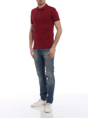 Fay: polo shirts online - Double collar dark burgundy polo