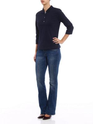 Fay: polo shirts online - Elbow-sleeve blue polo shirt