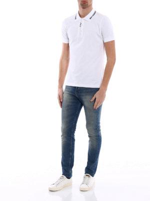 Fay: polo shirts online - Logo intarsia cotton polo shirt