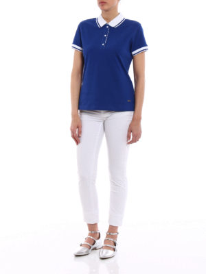 Fay: polo shirts online - Polo with striped collar and cuffs