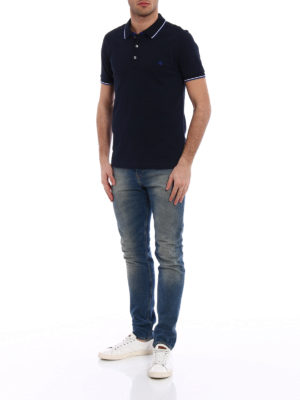 Fay: polo shirts online - Stripe detailed cotton polo shirt