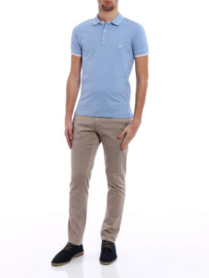 Fay: polo shirts online - Stripe detailed sky blue polo shirt