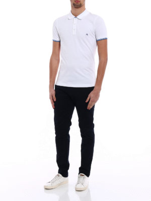 Fay: polo shirts online - Stripe detailed white polo shirt