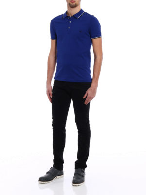 Fay: polo shirts online - Striped collar blue polo shirt