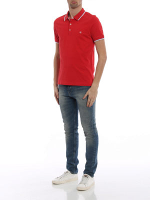 Fay: polo shirts online - Striped piping red cotton polo