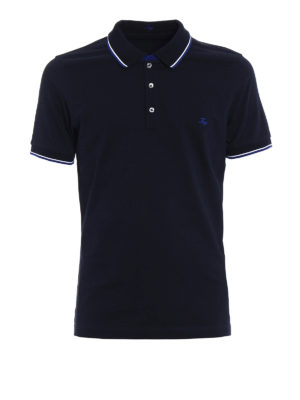 Fay: polo shirts - Stripe detailed cotton polo shirt