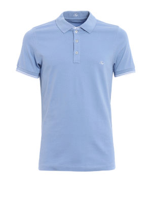 Fay: polo shirts - Stripe detailed sky blue polo shirt