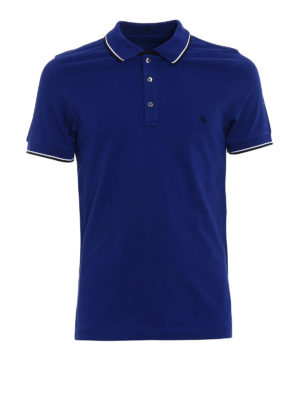 Fay: polo shirts - Striped collar blue polo shirt