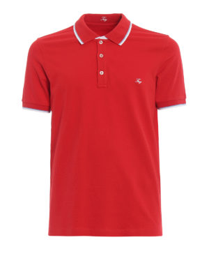 Fay: polo shirts - Striped piping red cotton polo
