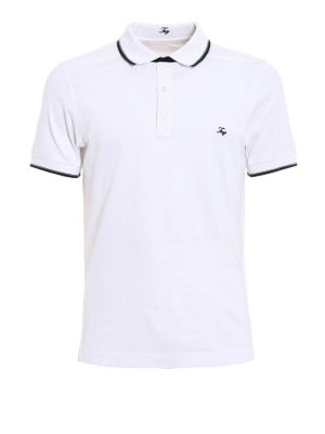 Fay: polo shirts - Two-tone detail cotton polo shirt