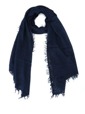 FAY: sciarpe e foulard - Sciarpa in misto cashmere blu tinta in capo