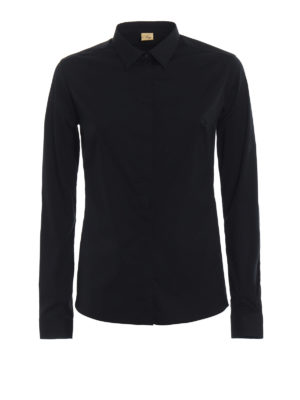 Fay: shirts - Black cotton shirt with darts