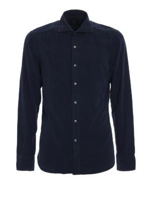 Fay: shirts - Blue corduroy shirt