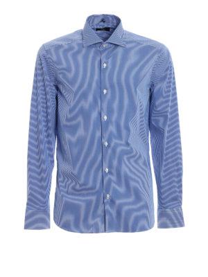 FAY: camicie - Camicia in misto cotone blu a righe