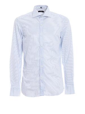 FAY: camicie - Camicia in cotone blu micro motivo