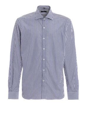 FAY: camicie - Camicia in cotone a righe blu