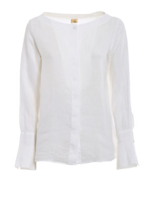 Fay: shirts - Boat neck white linen shirt