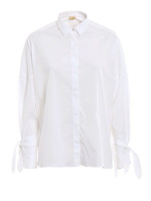 Fay: shirts - Bow detailed white oversized shirt