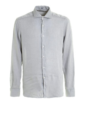 Fay: shirts - Cutaway collar linen shirt