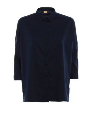 Fay: shirts - Dark blue cotton oversize shirt