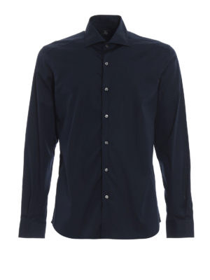 FAY: camicie - Camicia blu in popeline di cotone stretch