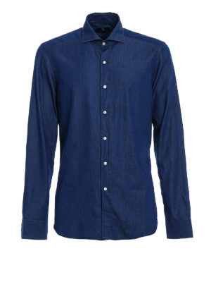 Fay: shirts - Dark wash denim shirt