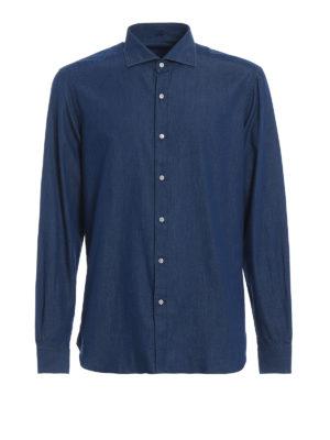 FAY: camicie - Camicia effetto denim in cotone