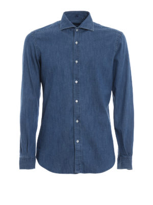 FAY: camicie - Camicia in denim con collo alla francese
