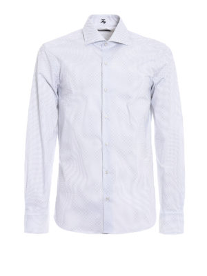 Fay: shirts - Diamond patterned cotton shirt