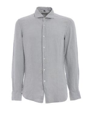 Fay: shirts - Garment dyed light grey linen shirt