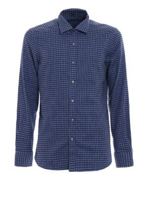Fay: shirts - Gingham fleece cotton shirt