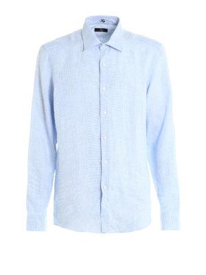 Fay: shirts - Jacquard linen shirt