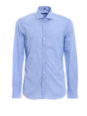 FAY: camicie - Camicia in cotone fil-à-fil azzurro